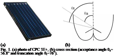 Подпись: (a) (b) Fig. 1. (a) photo of CPC 3E+, (b) cross section (acceptance angle 0a= 56.8° and truncation angle 0t=760).