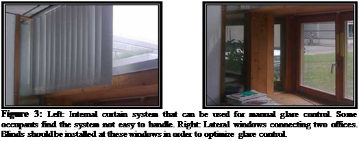 Подпись: Figure 3: Left: Internal curtain system that can be used for manual glare control. Some occupants find the system not easy to handle. Right: Lateral windows connecting two offices. Blinds should be installed at these windows in order to optimize glare control.